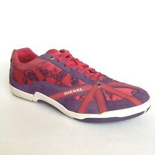 Diesel Womens Move in Fashion Sneakers Size 9 Red Purple Leather Lace Up Shoes