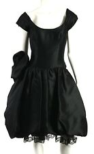 DIDIER LUDOT Black Dupioni Silk Rosette Full Pettiskirt Cocktail Dress 40