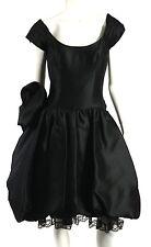 DIDIER LUDOT Black Dupioni Silk Rosette Full Pettiskirt Cocktail Dress 40