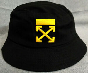Off White Bucket Hat Packable Cap Black