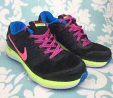 Nike Dual Fusion X Zapatillas Niñas Negro Rosa Amarillo Azul de gran condición Talla 4