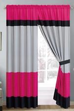 "Luxury Multi-Tone Window Curtain Set Grommet 21066 Pink Gray Black 58x84"" Long"