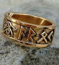 AKTION Runen Ring Bronze  60-70  Mittelalter AR OK FRIDR Runenring Wikingerring