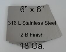 """316L Stainless Steel Plates 6"""" x 6"""" 18 Ga for HHO Dry/Wet cell generator Qty = 8"""