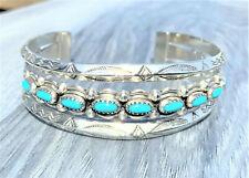 Turquoise Southwest Cuff Bracelet Vintage Sterling Sky Blue