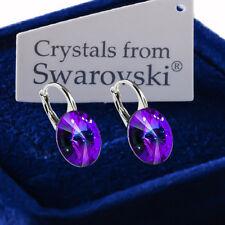 925 Sterling Silver Earrings *HELIOTROPE* Genuine 12mm Crystals from Swarovski®