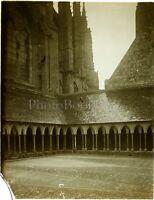FRANCE Cloître Abbaye Mont-Saint-Michel, Photo Stereo Plaque Verre VR10L3n16