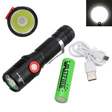 Tactical 5000Lumen 10W XM-L2 LED USB Rechargeable Flashlight Hunting Torch Light