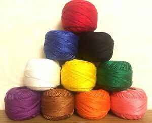 10 Anchor Pearl Embroidery Cotton Size 8, most basic fast colors balls J&P coats