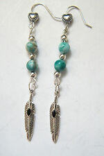 FEATHER Earrings Black Inlay & Hearts & Faux Turquoise Beads Silver EarWires NEW