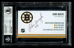 John Bucyk signed autograph auto Business Card Boston Bruins Ambassador BAS Slab