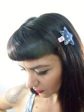 Pince clip barette cheveux étoile en jean denim étoiles dorées originale pinup