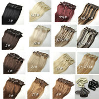 "Premium 14""-30"" Straight Full Head Clips in Real Human Hair Extension Any Colors"
