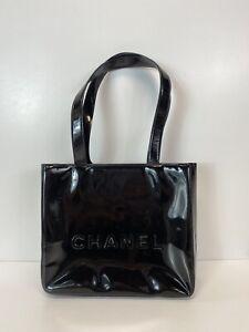 Rare Vtg Chanel Black PVC Logo Shoulder Bag