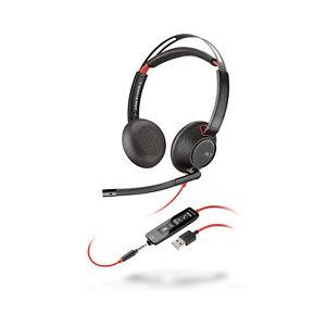 Plantronics Poly Blackwire 5220 Stereo Headset Standard USB and 3.5mm Jack NCMic