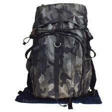 Authentic PRADA MILANO Logo Backpack Bag Nylon Leather Khaki Italy 85MD107