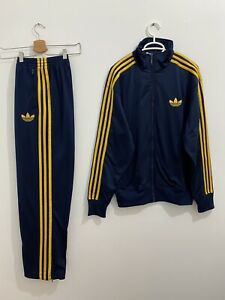 Adidas Originals ADI-Firebird Tracksuit Navy Yellow Jacket Size L