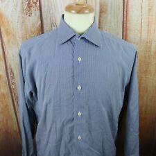 David Donahue Men's 16 34/35 Dress Shirt Navy Blue Micro Check LS Button Down