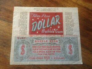 Film Stars Bubble Gum Wrapper. A & BC. 1950's. Original