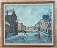 Antique Oil Painting Signed by artist Framed Original Canvas Art Vintage Winter