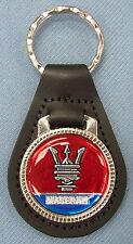 Rare ! Vintage Red MASERATI Black Leather USA Keyring Key Fob