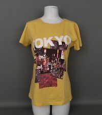 MNG By Mango NWT Women's Sz.XL T.Shirt-Top TOKYO Sequin Front-Yellow-100%Cotton