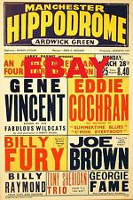 "Gene Vincent / Eddie Cochran Manchester 16"" x 12"" Photo Repro Concert Poster"