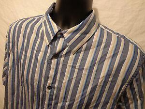 Men's Attention Modern Long Sleeve Blue Striped 100% Cotton Button Up Shirt Sz L