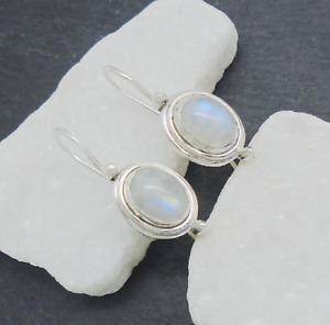 Mondstein blau blue weiß oval Design Ohrringe Ohrhänger 925 Sterling Silber neu