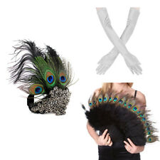1920s' Gatsby Accessories Set Peacock Headband Feather Fan Gloves for Halloween