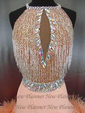 Feather Women Ballroom Rumba Salsa Latin Cha Smooth Dance Dress US 8 UK 10
