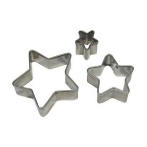 PME 3pk STAR Cut Out Stainless Steel Icing Cutters Sugarcraft Cake Decorating