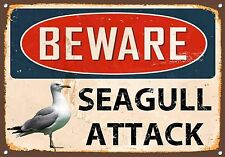 Beware Seagull Attack Metal Sign Vintage Style Wall Door House Plaque 808
