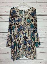 Umgee USA Boutique Women's S Small Brown Floral Tan Lace Bell Sleeves Fall Dress