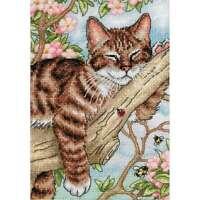 """Gold Petite Napping Kitten Counted Cross Stitch Kit 5""""X7"""" 18 Coun 088677650902"""