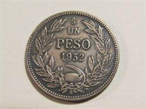 Chile 1932-So 1 Un Peso Silver Coin