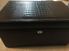 Pottery Barn McKenna Leather Jewelry Armoire Box Crocodile Pattern NIB Gift Lge