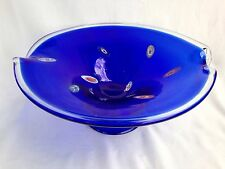 "ExCd Large 16""  Murano Art Glass Cobalt Blue Millefiori Footed Centerpiece Bowl"