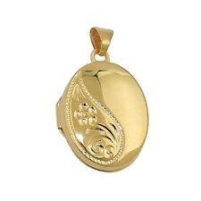 Echte Edelmetall-Halsketten & -Anhänger ohne Steine im Medaillon-Stil mit Florales für Damen