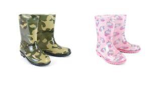 Kids Boys Girls Wellingtons Boots Camouflage Camo Unicorn Wellies Sizes 10-2UK