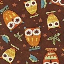 Fabric On a Whim Owls on Earth Brown Robert Kaufman 1 Yard Discontinued Pattern