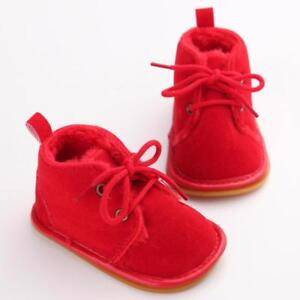 Newborn Baby Shoes Infant Girl Boy Booties Suede Leather Warm Lace Up Boots