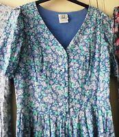 Vintage Laura Ashley - Blue Floral Tea Dress - Size 14 (10/12) - Great Britain