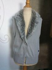 GRAY FUR COLLAR SWEATER VEST Girls 10 12 M TOM TAILOR Germany WITH LOVE
