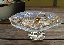 Teller-Glasfuß von Waltherglas, Ätzdekor, neu + unbenutzt