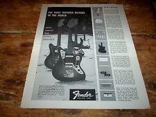 FENDER electric GUITARS ( JAGUAR / STRATOCASTER / BASS ) 1964 PROMO print Ad NM-