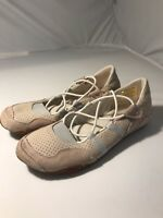 Diesel Womens 8.5 Mary Jane Flats  Ivory Leather Suede Elastic Comfort EUC