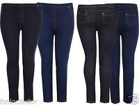 New Ladies Womens Plus Size Stretch Denim Look Skinny Jeggings Leggings UK16-26