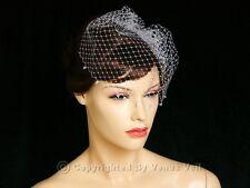 Handmade Ivory Bridal AB Bicone Crystal Edge Wedding Birdcage Blusher Veil
