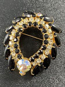 "Vintage Brooch Pin 2.5"" Black Marquise Lucite AB Crystal Rhinestones"